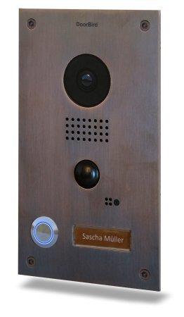 DoorBird-WiFi-Video-Doorbell-D202B-Stainless-Steel-with-Bronze-finish-Flush-Mount-Edition-0