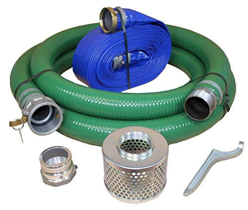 Eagle-PVCAluminum-WaterTrash-Pump-Hose-Kit-3-Green-Suction-Hose-Coupled-C-x-KCN-3-Blue-Discharge-Hose-Coupled-M-x-F-WS-29-Vacuum-Rating-70-PSI-Maximum-Temperature-50-Length-3-ID-0