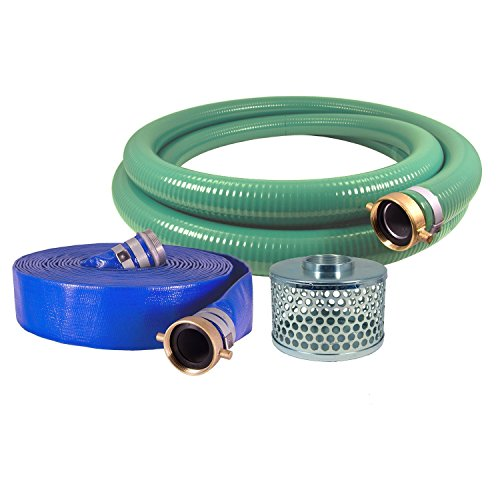 Eagle-PVCAluminum-WaterTrash-Pump-Hose-Kit-3-Green-Suction-Hose-Coupled-M-x-F-WS-3-Blue-Discharge-Hose-Coupled-M-x-F-WS-29-Vacuum-Rating-70-PSI-Maximum-Temperature-25-Length-3-ID-0