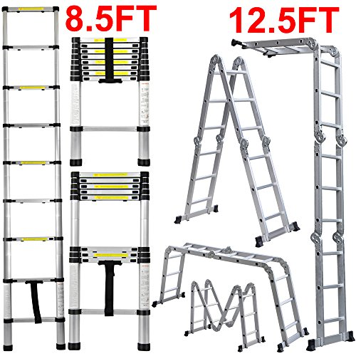 Easyfashion-85FT125FT145FT155FT165FT-Folding-Aluminum-Telescopic-Ladder-Extension-0