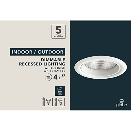Globe-Electric-90961-BR30-65W-OutdoorIndoor-Rust-Resistant-Regressed-Round-Recessed-Lighting-Kit-Flood-Light-White-Finish-Baffle-4-Pack-5-0-0