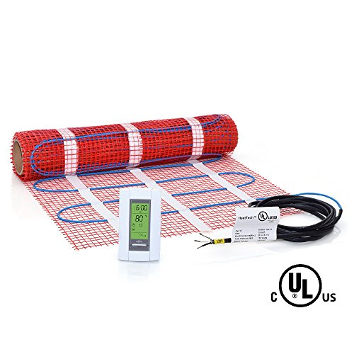 Heattech 120v electric tile radiant floor heating mat kit for Electric radiant heat thermostat