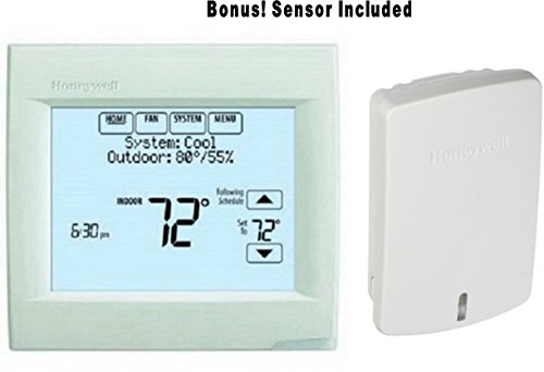 Honeywell-TH8110R1008-Vision-Pro-8000-Touch-Screen-Single-Stage-Thermostat-with-Red-Link-Technology-BONUS-Includes-1-Indoor-Sensor-C7089R1013-to-Average-the-Temperature-0