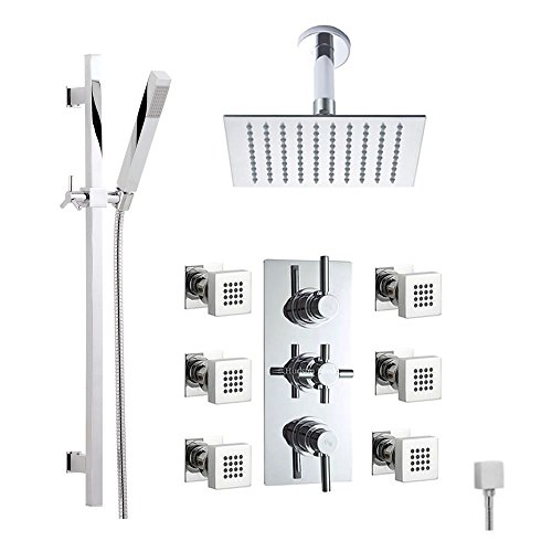 Hudson-Reed-Thermostatic-Shower-System-With-Triple-Divertor-Brass-Valve-8-Rain-Ceiling-Head-Square-Rail-Kit-Handspray-6-Massage-Body-Jets-Complete-Bathroom-Set-Chrome-Finish-0