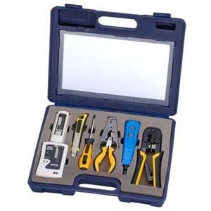 InstallerParts-10-Piece-Network-Installation-Tool-Kit-Includes-LAN-Data-Tester-RJ45-RJ11-Crimper-66-110-Punch-Down-Stripper-Utility-Knife-2-in-1-Screwdriver-and-Hard-Case-0-0