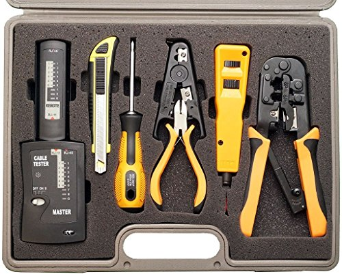 InstallerParts-10-Piece-Network-Installation-Tool-Kit-Includes-LAN-Data-Tester-RJ45-RJ11-Crimper-66-110-Punch-Down-Stripper-Utility-Knife-2-in-1-Screwdriver-and-Hard-Case-0-1