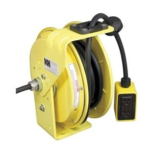 KH-Industries-RTB-Series-ReelTuff-Industrial-Grade-Retractable-Power-Cord-Reel-with-Black-Cable-163-SJOW-Cable-Prewired-with-Four-Receptacle-Outlet-Box-15-Amp-50-Length-Yellow-Powder-Coat-Finish-0
