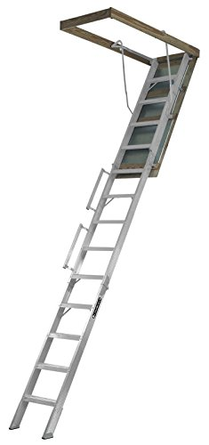 Louisville-Ladder-Everest-Aluminum-Attic-Ladder-350-Pound-Capacity-255-Inch-by-63-Inch-Opening-Ceiling-Heights-10-Foot-To-12-Foot-0