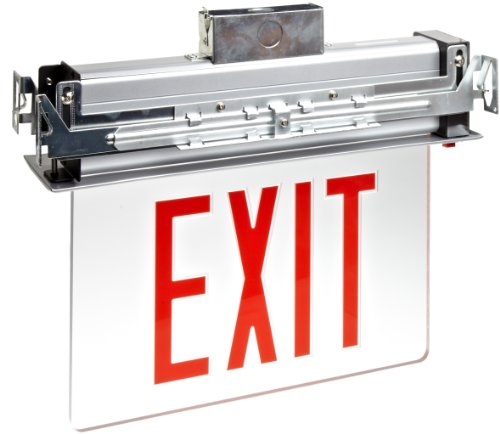 Morris-Products-73330-Recessed-Mount-Edge-Lit-LED-Exit-Sign-Red-on-Clear-Panel-Color-Anodized-Aluminum-Housing-0