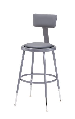 National-Public-Seating-Grey-Steel-Stool-with-Vinyl-Upholstered-Seat-Adjustable-and-Backrest-19-27-0