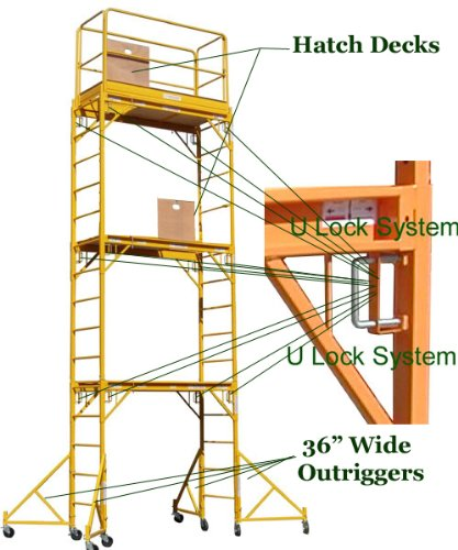 Scaffold-Rolling-Tower-Standing-at-17-High-with-Hatch-Deck-Guard-Rail-and-U-Lock-Brace-CBM1290-0-1