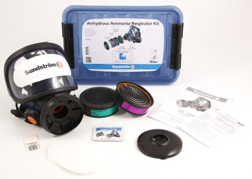 Sundstrom-H05-8621-Anhydrous-Ammonia-Respirator-Kit-with-SR-100-ML-Silicone-Full-Face-Mask-P100HE-Particulate-Filter-AMMA-Chemical-Cartridge-Prefilters-0-0