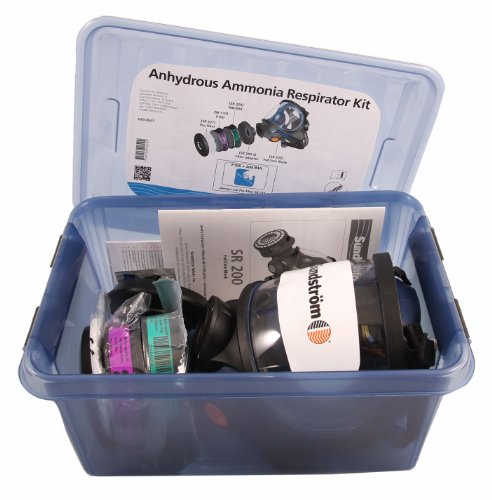 Sundstrom-H05-8621-Anhydrous-Ammonia-Respirator-Kit-with-SR-100-ML-Silicone-Full-Face-Mask-P100HE-Particulate-Filter-AMMA-Chemical-Cartridge-Prefilters-0