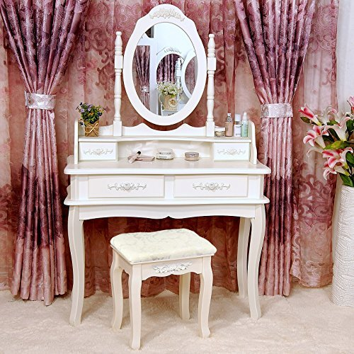 Tribesigns-Makeup-Vanity-Table-Set-Bedroom-Dressing-Table-with-Stool-and-Mirror-1-Mirror-4-Drawer-0-0