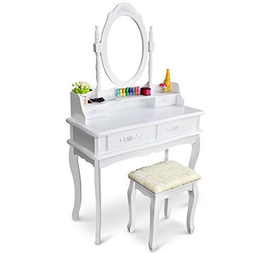 Tribesigns-Makeup-Vanity-Table-Set-Bedroom-Dressing-Table-with-Stool-and-Mirror-1-Mirror-4-Drawer-0