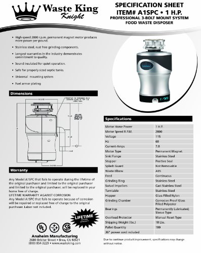Waste King A1spc Knight 1 0 Horsepower Garbage Disposal